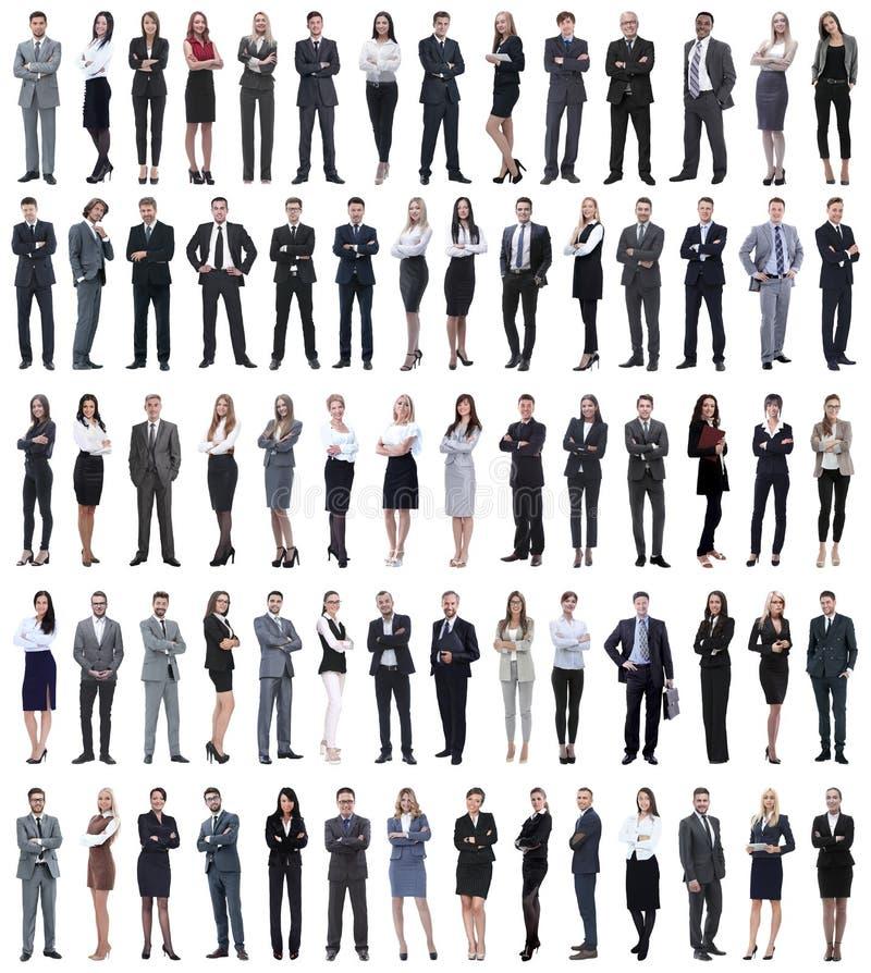 Collage van jonge bedrijfsmensen die zich op een rij bevinden stock foto's