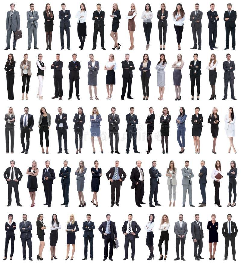 Collage van jonge bedrijfsmensen die zich op een rij bevinden stock fotografie