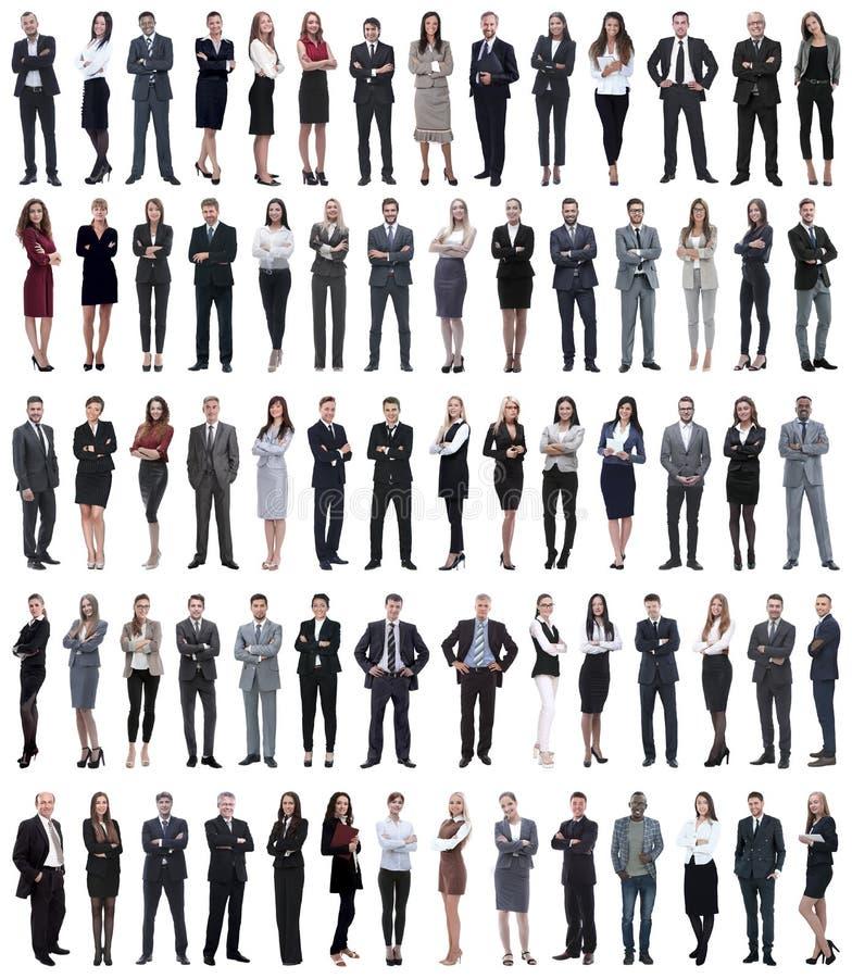 Collage van jonge bedrijfsmensen die zich op een rij bevinden royalty-vrije stock foto