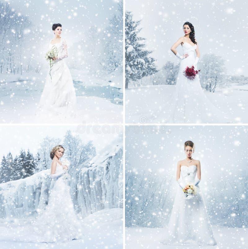 Collage van jonge bruiden op een de winterachtergrond Vastgestelde inzameling royalty-vrije stock afbeeldingen