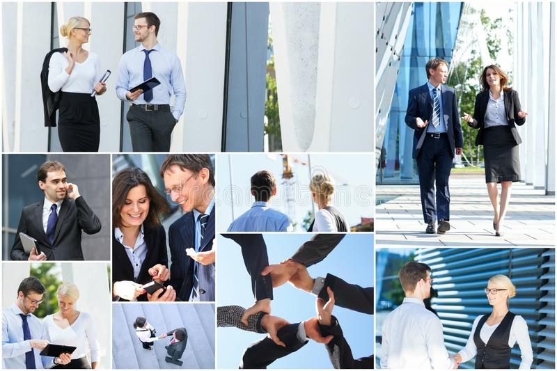Collage van jonge en succesvolle bedrijfsmensen stock fotografie