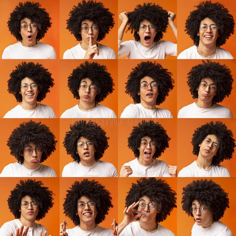 Collage van jonge mensenuitdrukkingen en emoties stock foto's