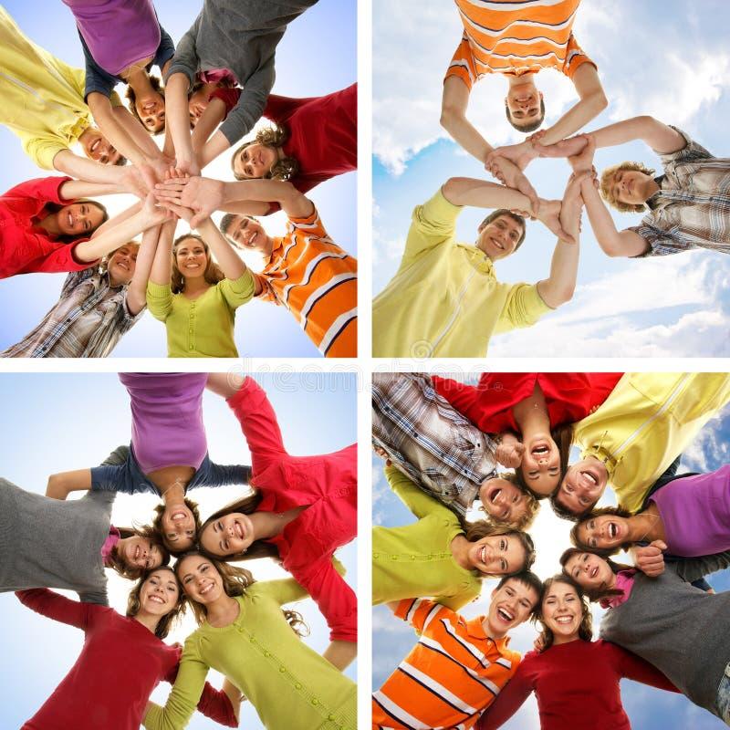 Collage van jonge studenten die uit togerher hangen royalty-vrije stock afbeelding