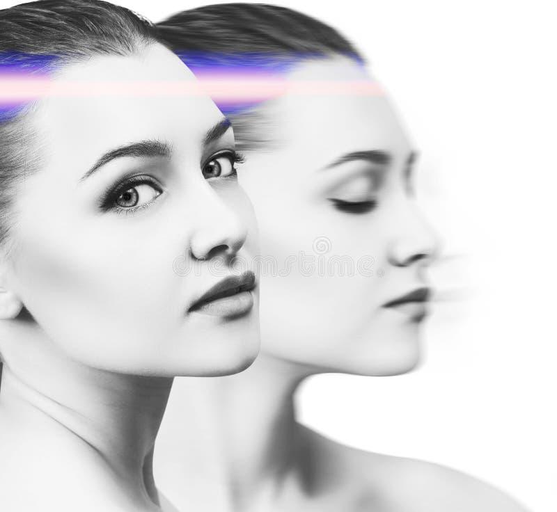 Collage van jonge vrouw met heldere gloeiende violette straal royalty-vrije stock foto