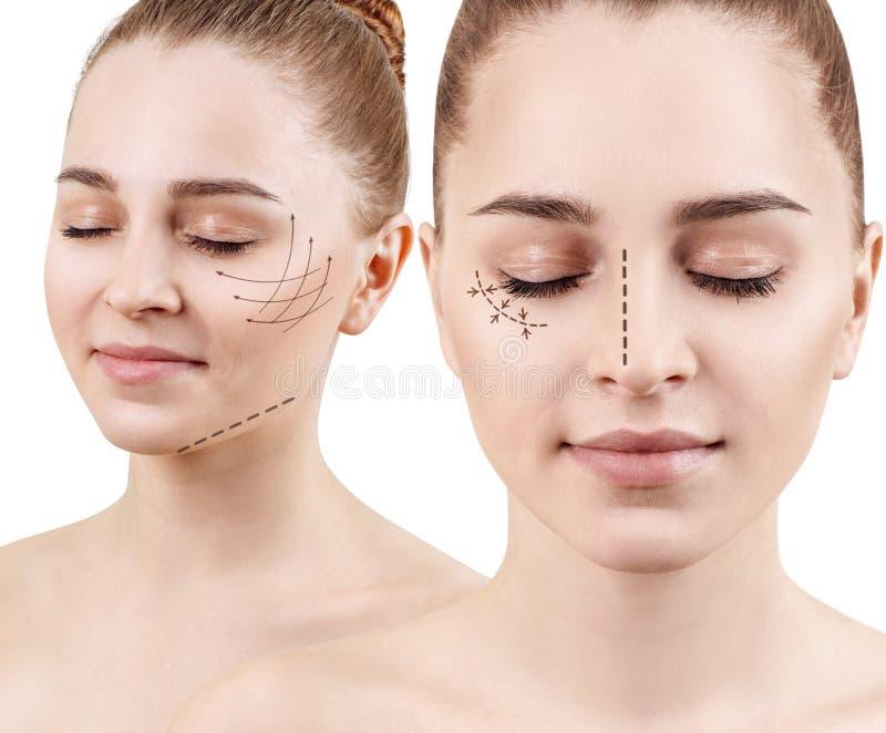 Collage van jonge vrouw met het opheffen van pijlen op gezicht stock afbeeldingen