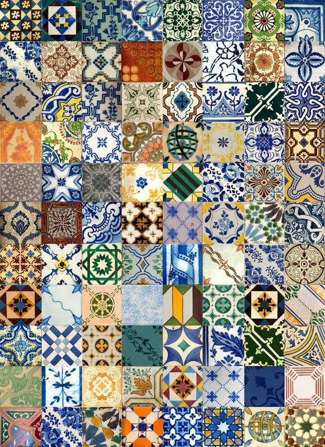 Collage van keramische tegels van Portugal stock foto
