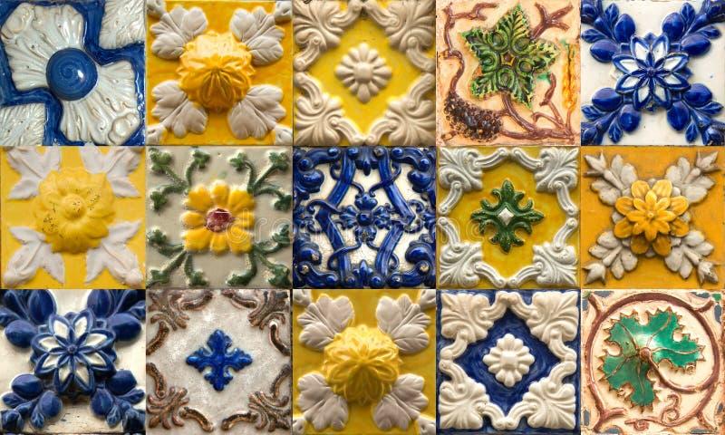 Collage van keramische tegels van Portugal royalty-vrije stock fotografie