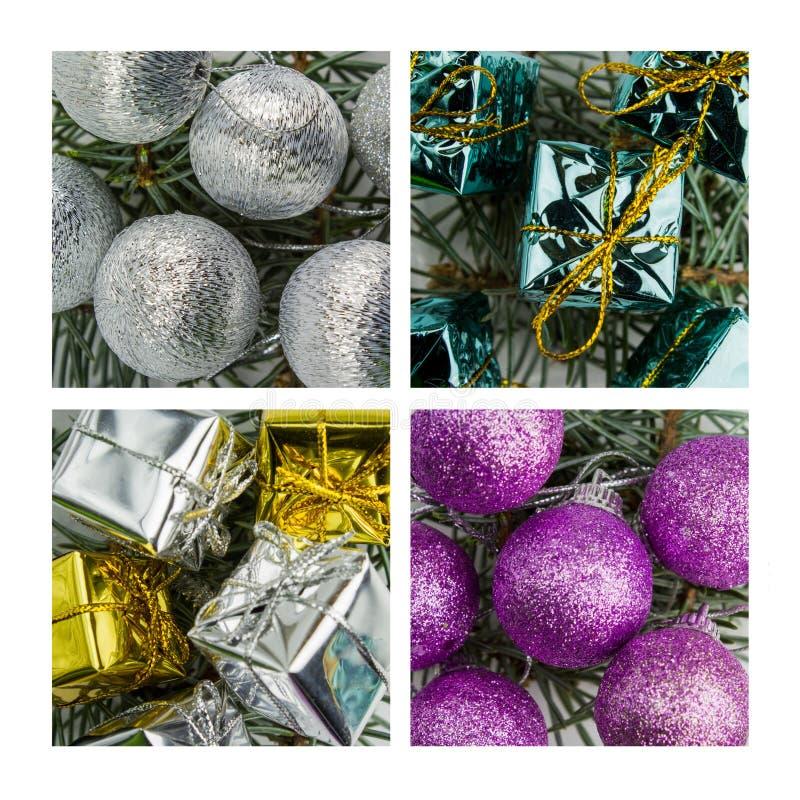 Collage van Kerstmisdecoratie royalty-vrije stock afbeelding