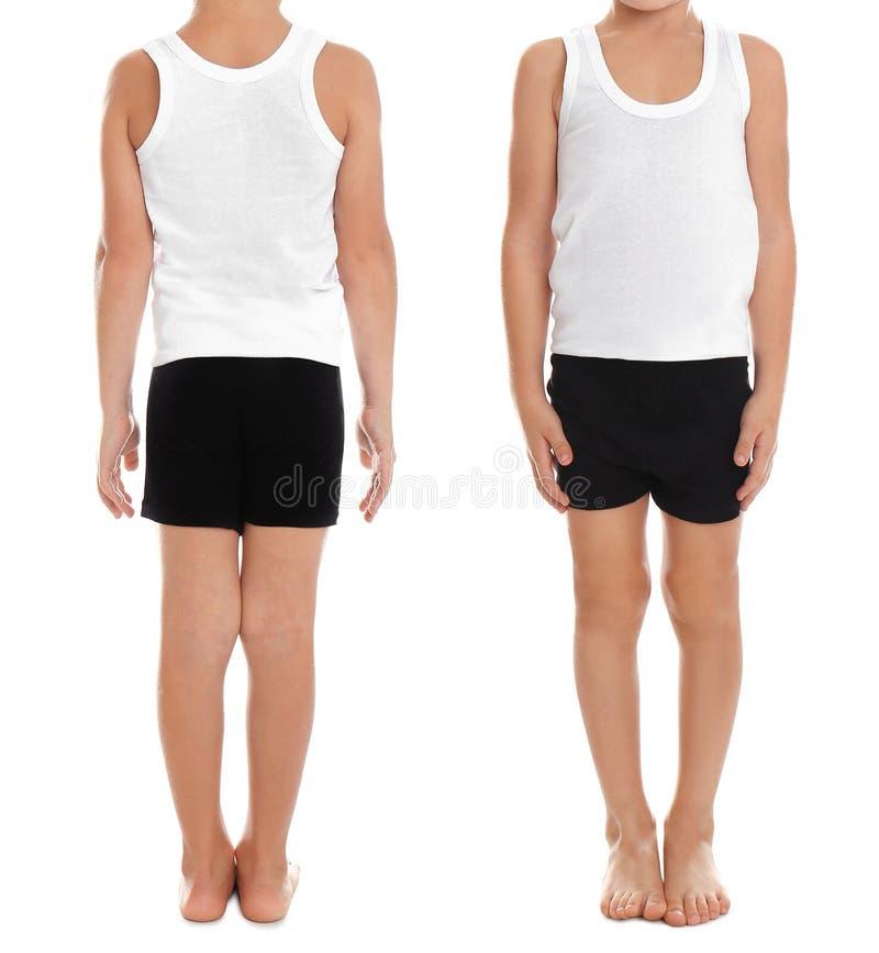 Collage van kleine jongen in ondergoed op wit stock afbeeldingen