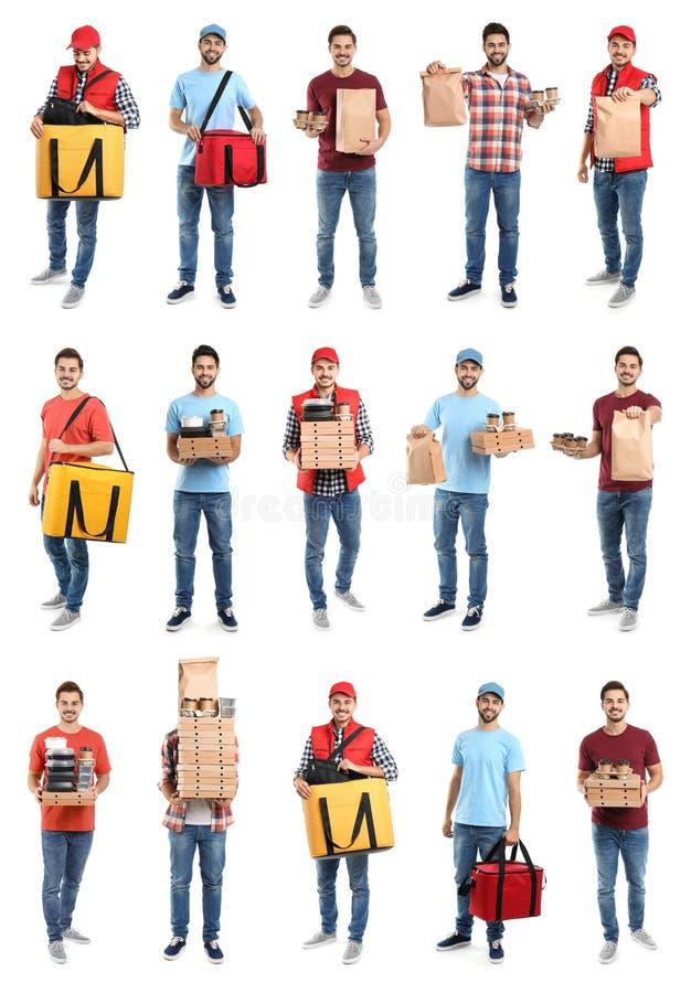 Collage van koeriers met orden op wit Voedsellevering stock afbeeldingen