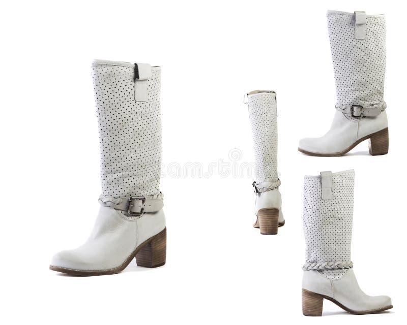 Collage van laarzen van de schoenen de Witte lente voor vrouwenschoenen op een witte achtergrond, online winkel royalty-vrije stock afbeelding
