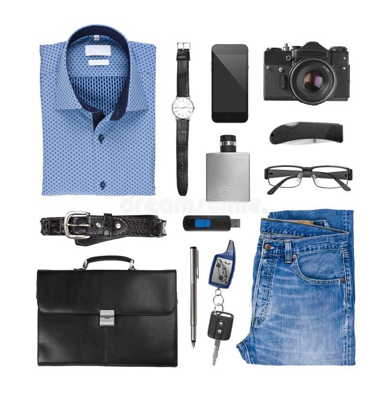Collage van mannelijke die kleren en assessories op witte achtergrond worden geïsoleerd stock fotografie