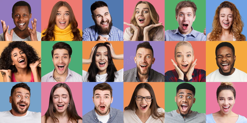 Collage van millennials emotionele portretten royalty-vrije stock foto's