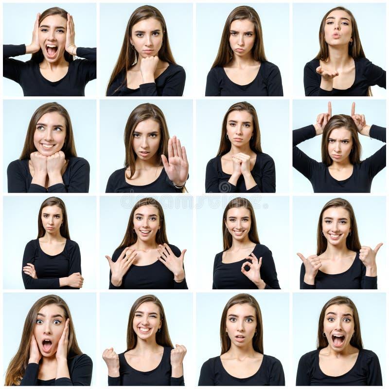 Collage van mooi meisje met verschillende gelaatsuitdrukkingen stock fotografie