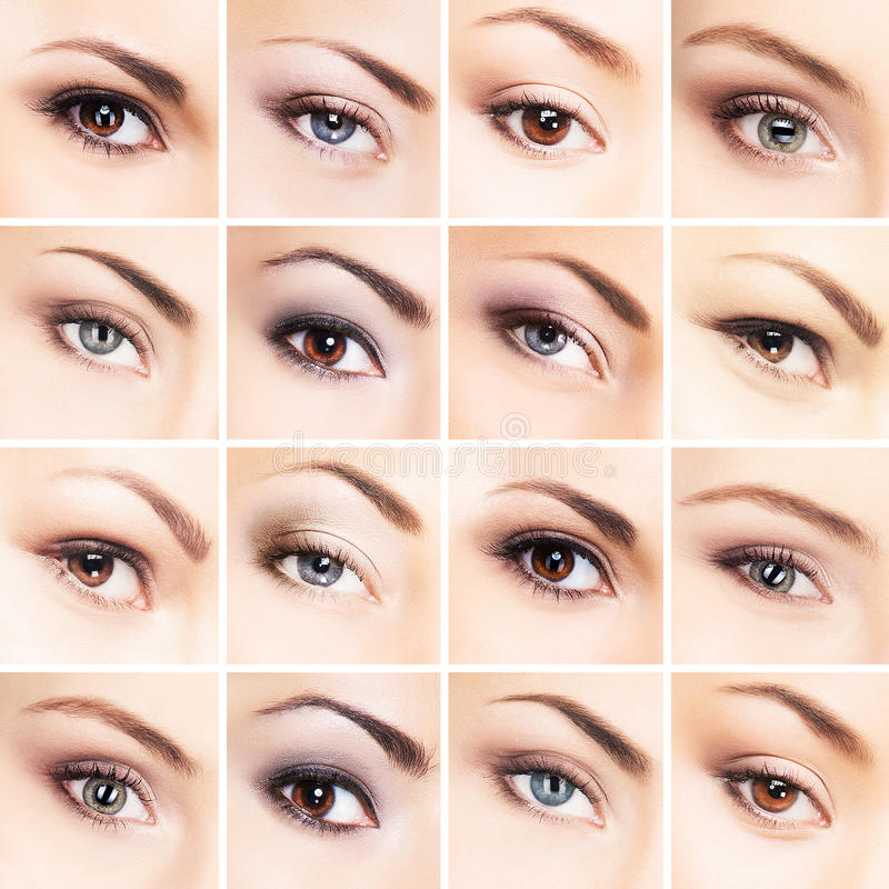 Collage van mooie vrouwelijke ogen met make-up stock foto