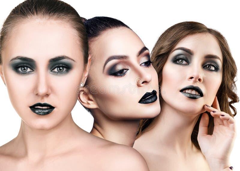Collage van mooie vrouwen` s gezichten met rokerige ogen stock foto's