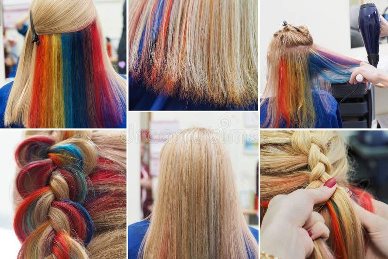 Collage van multi-colored haar Het gekleurde bevlekken van het haar stock afbeelding