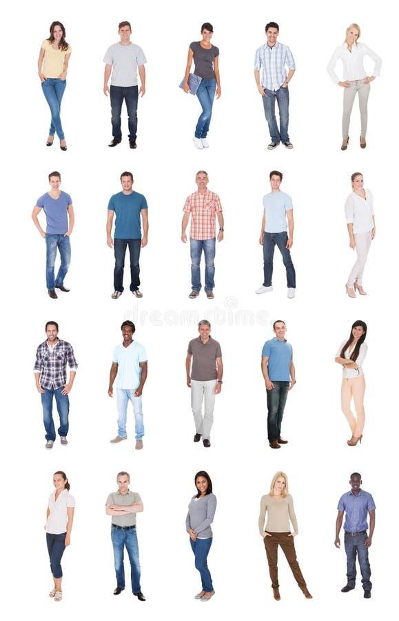 Collage van multi-etnische mensen in toevallig stock foto