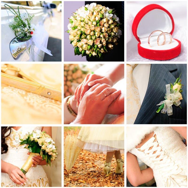 Collage van negen huwelijksfoto's royalty-vrije stock foto's