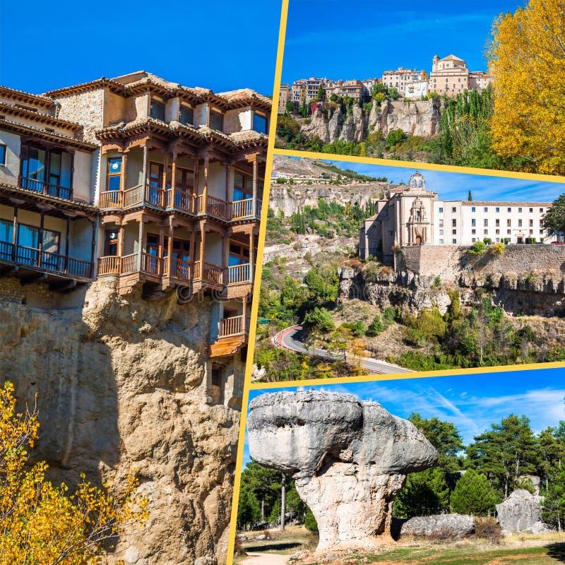 Collage van o Cuenca Spanje Europa royalty-vrije stock afbeeldingen