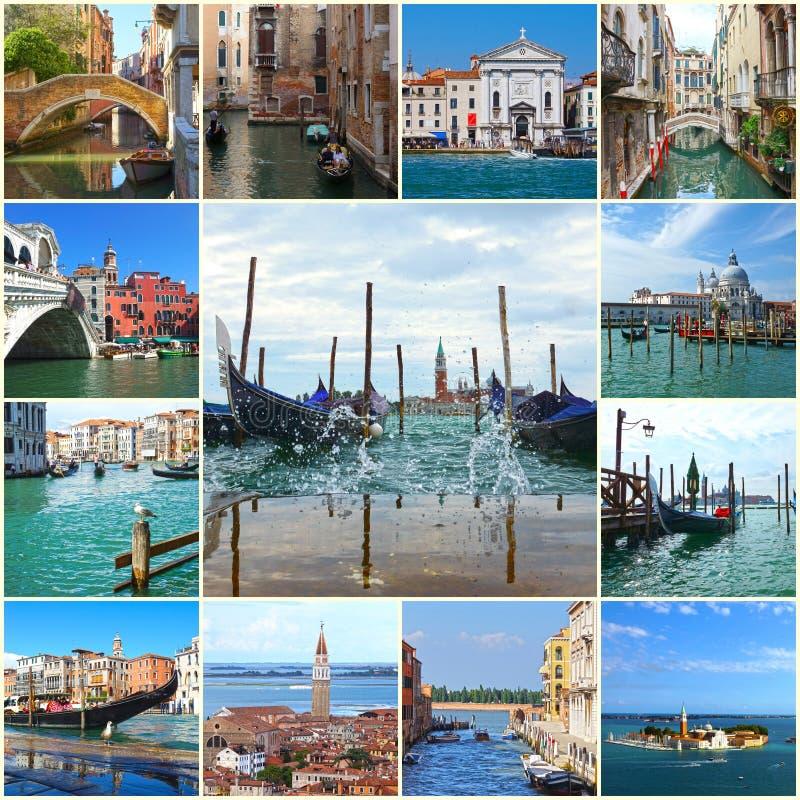 Collage van oriëntatiepunten in Venetië, Italië royalty-vrije stock foto