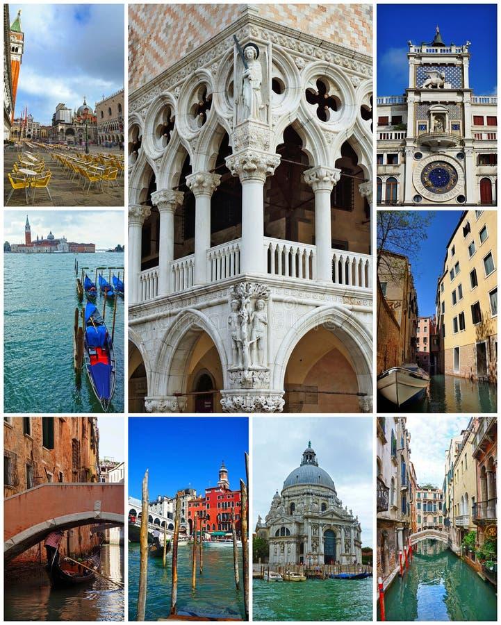 Collage van oriëntatiepunten in Venetië, Italië. stock afbeelding