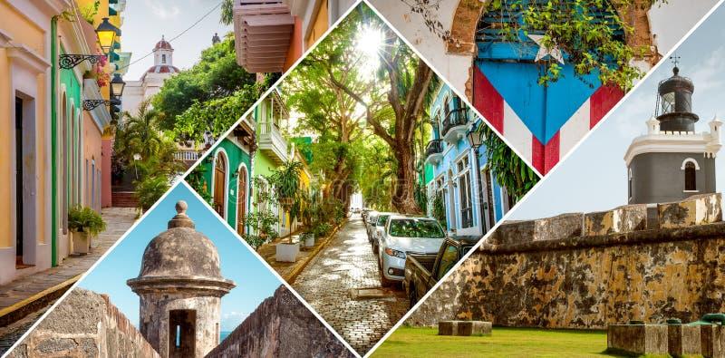 Collage van Oud San Juan, Puerto Rico stock afbeelding