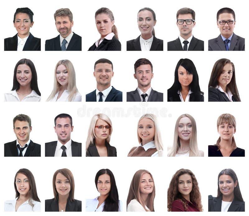 Collage van portretten van bedrijfsdiemensen op wit worden geïsoleerd royalty-vrije stock afbeeldingen
