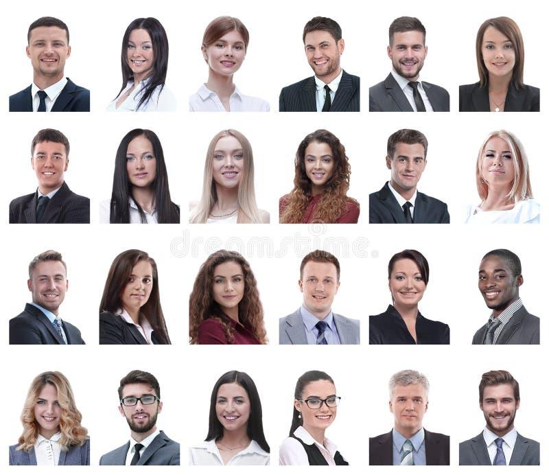 Collage van portretten van bedrijfsdiemensen op wit worden geïsoleerd stock foto