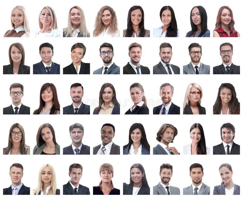 Collage van portretten van succesvolle die werknemers op wit worden geïsoleerd royalty-vrije stock afbeeldingen