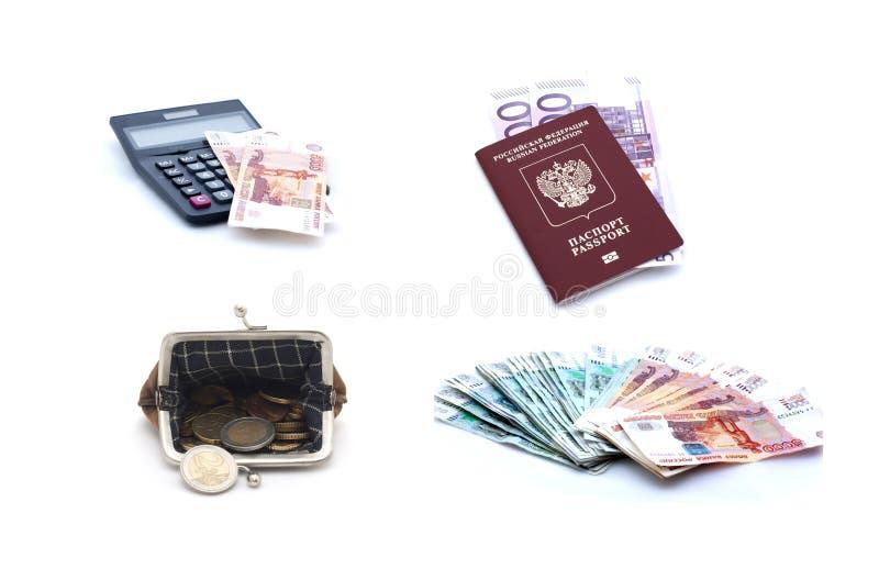 Collage van Russisch paspoort, euro bankbiljetten, muntstukken, beurs en calculator lon witte achtergrond stock foto