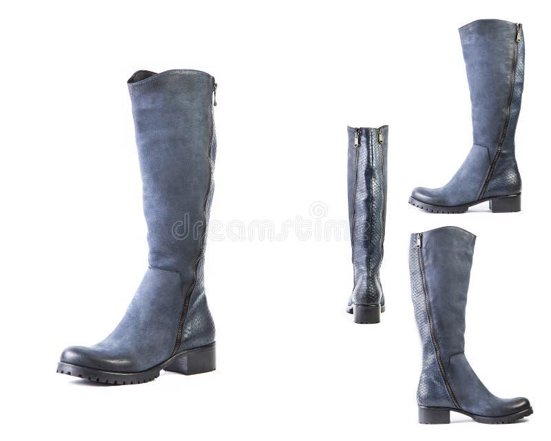 Collage van schoenen blauwe laarzen voor vrouwenschoenen op een witte achtergrond, online winkel stock afbeeldingen