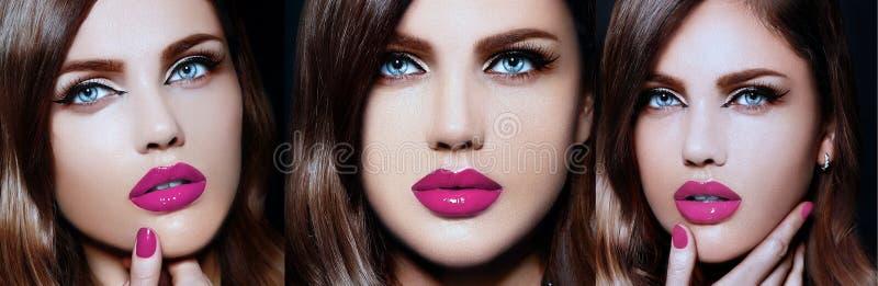 Collage van sexy modieus donkerbruin model met perfecte huid heldere lippen stock afbeelding