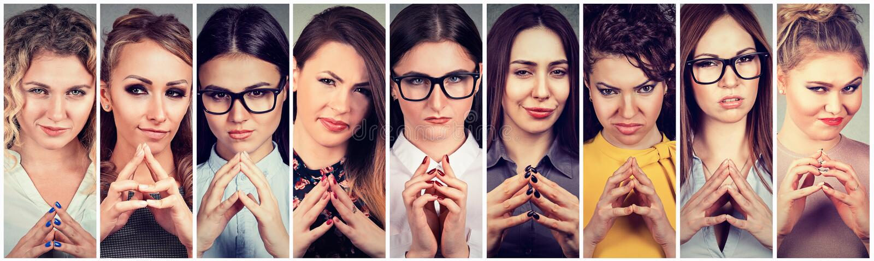 Collage van sluwe, plannende vrouwen die iets in kaart brengen stock afbeeldingen