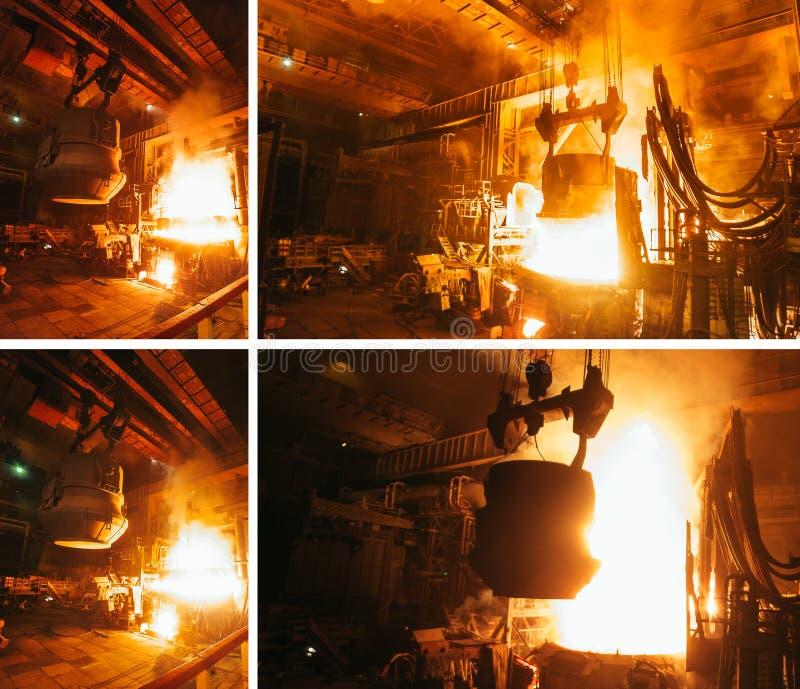 Collage van staalproductie in elektrische ovens stock fotografie