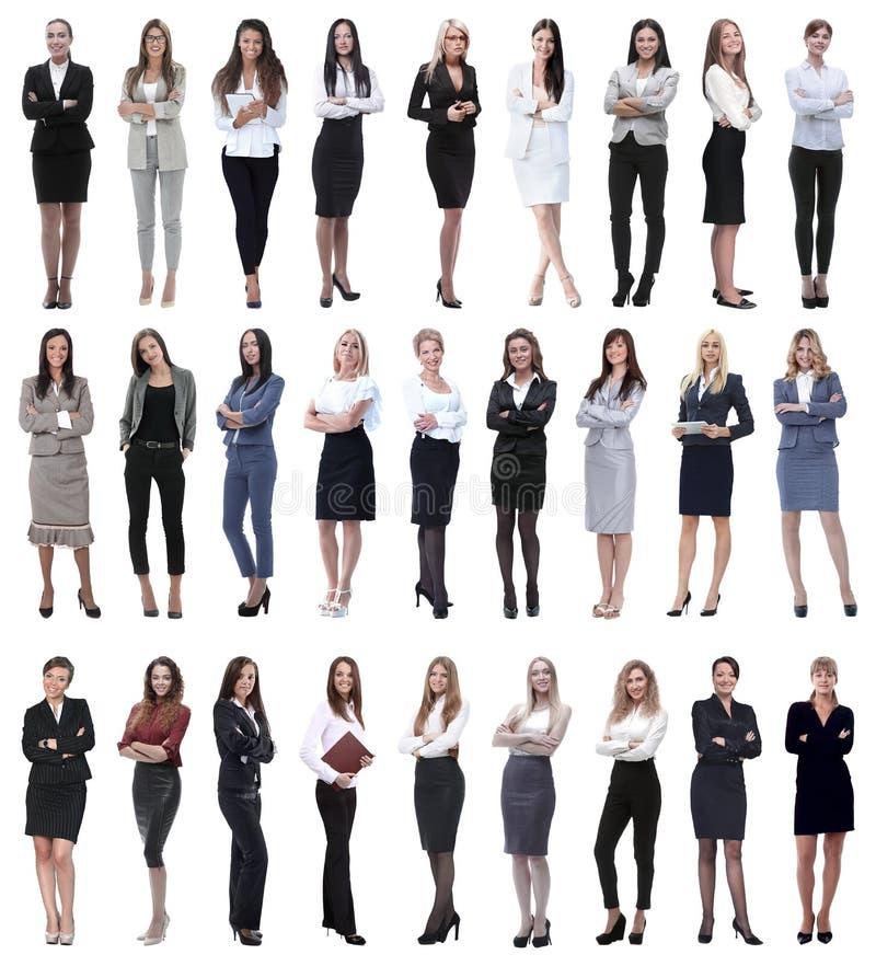 Collage van succesvolle moderne onderneemster Geïsoleerd op wit stock afbeelding