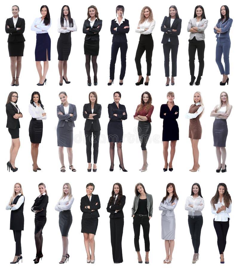 Collage van succesvolle moderne onderneemster Ge?soleerd op wit stock afbeeldingen