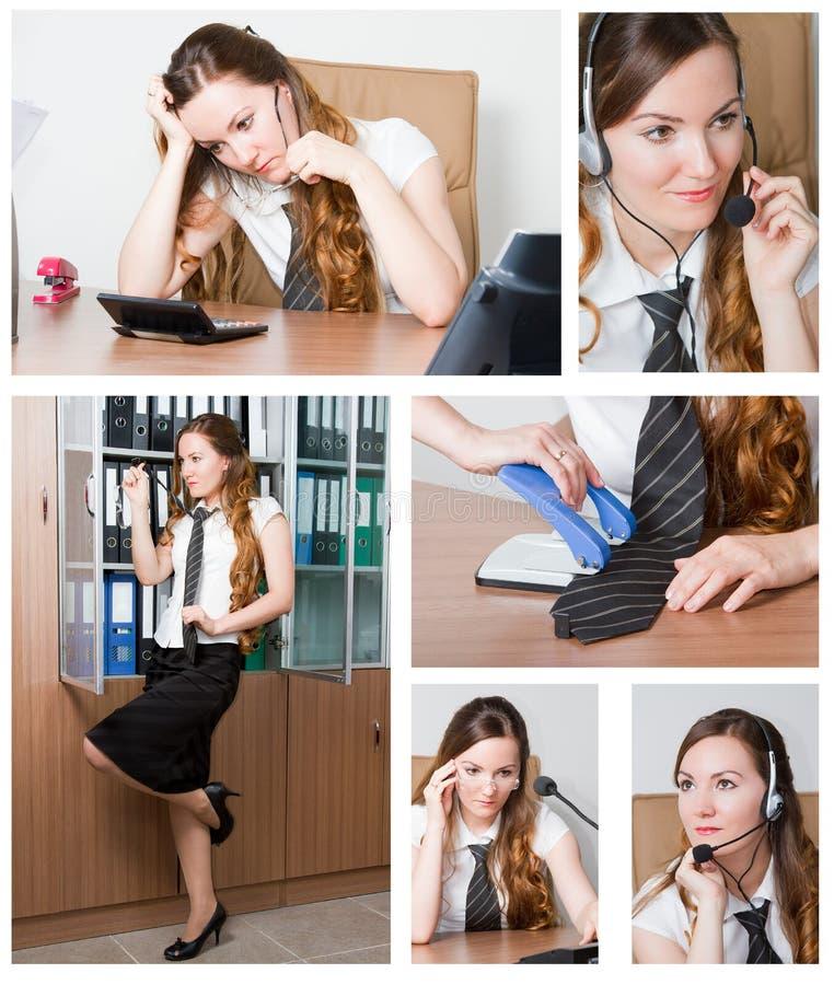 Collage van succesvolle onderneemster in bureau royalty-vrije stock afbeelding