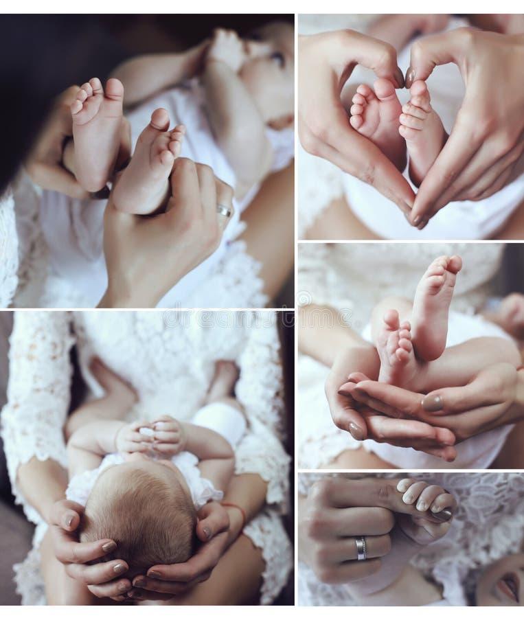 Collage van tedere foto's van moeder en haar mooie kleine baby stock fotografie