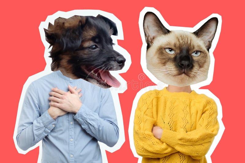 Collage van teleurgesteld jong paar met hond en kattenhoofd royalty-vrije stock afbeelding