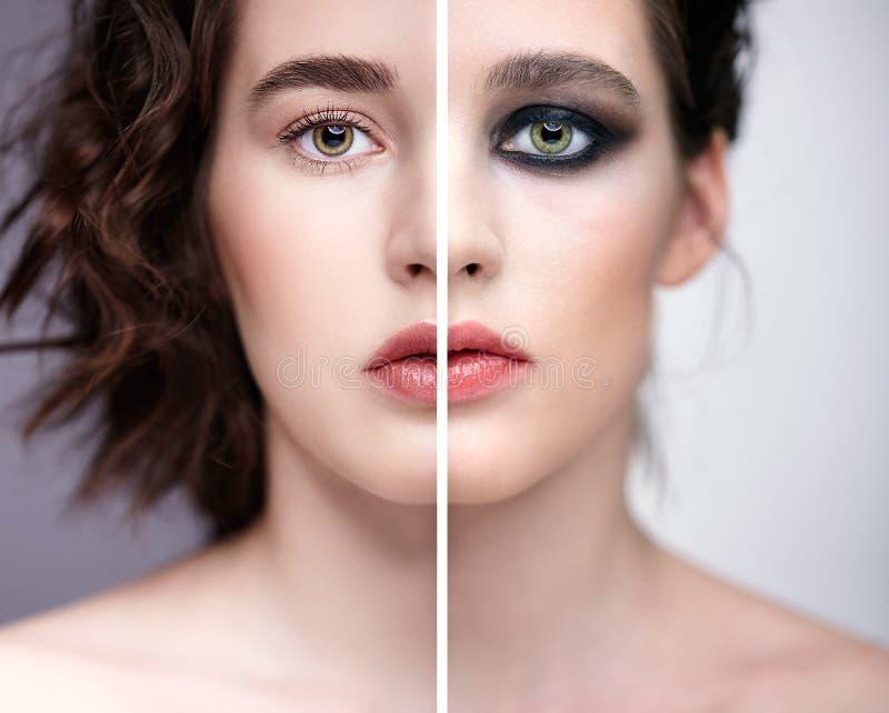 Collage van twee foto's Close-up macroportret van vrouwelijk gezicht met naakte make-up en viooltje - de zwarte rokerige samenste stock afbeeldingen