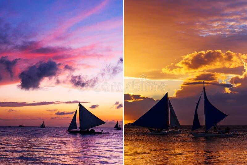 Collage van twee verticale beelden met zeilboten bij zonsondergang stock foto