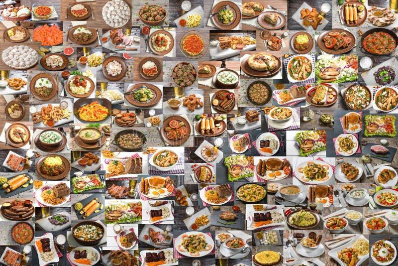 Collage van veel voedsel stock afbeelding