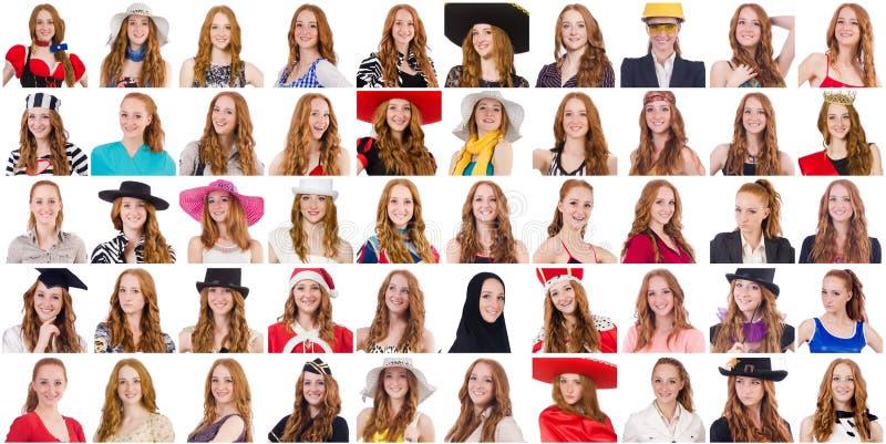 Collage van vele gezichten van zelfde model royalty-vrije stock foto's