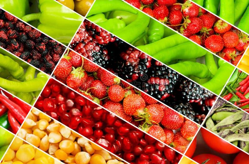 Collage van vele vruchten en groenten stock afbeeldingen