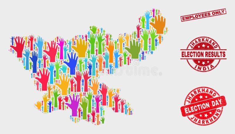 Collage van van Verkiezingsjharkhand van de Staat de Kaart en van Grunge Werknemers slechts Watermerk stock illustratie