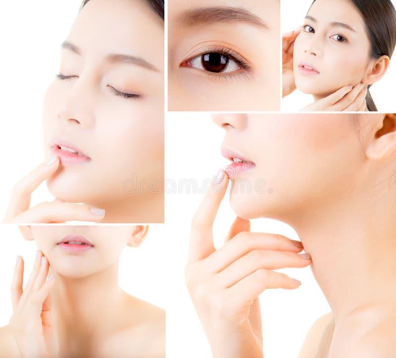 Collage van verscheidene foto's voor mooie Aziatische vrouwenmake-up van schoonheidsmiddel, de aanrakingswang van de meisjeshand, royalty-vrije stock afbeeldingen