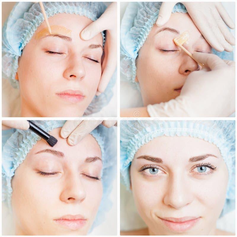 Collage van verscheidene foto's voor schoonheid en medische behandeling stock afbeeldingen