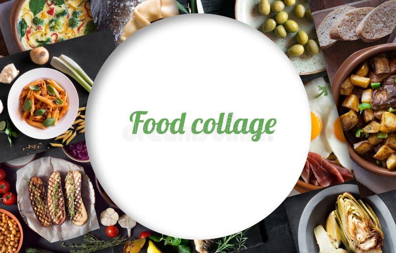 Collage van verschillende beelden van smakelijk voedsel stock foto