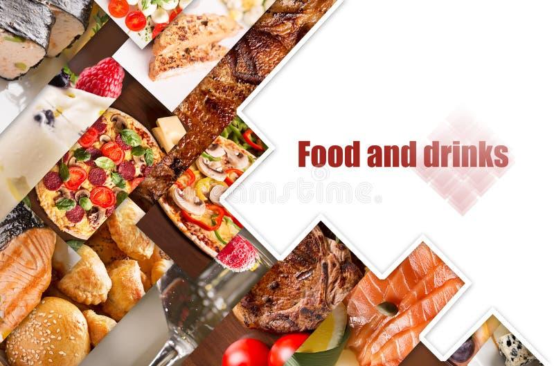 Collage van verschillende beelden van voedsel stock foto